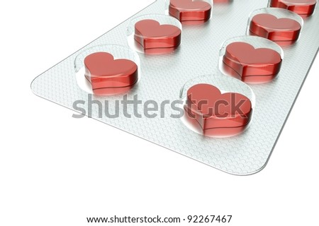 a love tablets isolated on white
