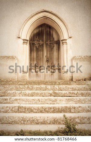 A lovely dreamy but spooky image of an old church door