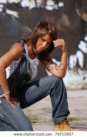 stock photo a lovely mature black woman wearing denim bib overalls with work boots and a white tank top 76915807 Bare mature breasts, One women big dick, Women mature black
