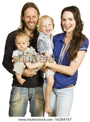 A lovely portrait of a beautiful happy family laughing. Isolated over white. - stock photo