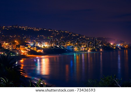 A lovely view of the popular California destination of Laguna Beach, as viewed at night from a distance.