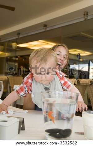 A loving mother holds her son whilst he looks at a goldfish