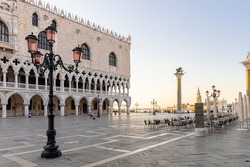A low angle of the Doge's Palace in Venice, Italy  Doge's Palace Venice Italy