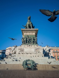 A low angle of the equestrian statue of Victor Emmanuel II in Milan, Italy