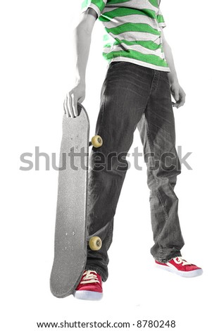A low angle shot of an isolated, selectively toned skater - stock photo