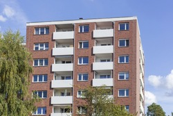 A low angle shot of the exterior of residential buildings in Deutschland, Europe