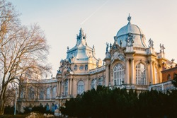 A low angle shot of the famous Vajdahunyad Castle in Budapest, Hungary