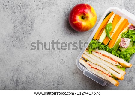 A lunchbox for office or school with healthy food: sandwiches, carrot and cucumber sticks, salad, apple. Preparation and packaging of meal to support balanced lifestyle, stone background, copy space #1129417676