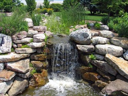 A lush green garden with waterfall cascading down the rocky stones