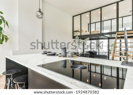 A luxurious and beautiful kitchen interior design Photo stock ©