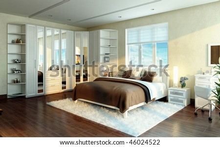 Design  Bedroom on Luxurious Bedroom  Interior Design Idea  Modern Style  Stock Photo