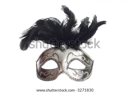 A luxurious silver mask isolated on white