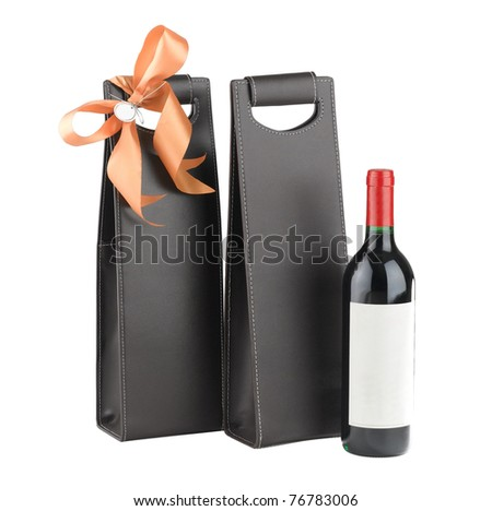 A luxury leather wine bag and wine bottle ready to gift to someone
