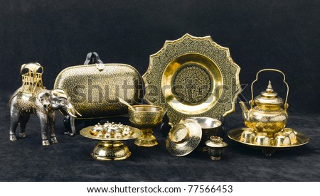 A luxury set of the brass products