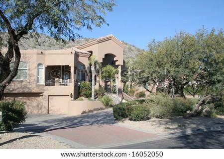 A luxury upscale home in an Arizona desert suburb
