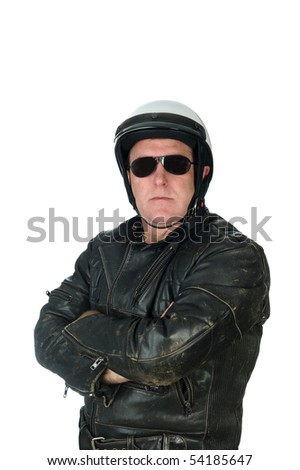 A macho motorcycle rider posing while wearing his leather jacket, white helmet and sun glasses.