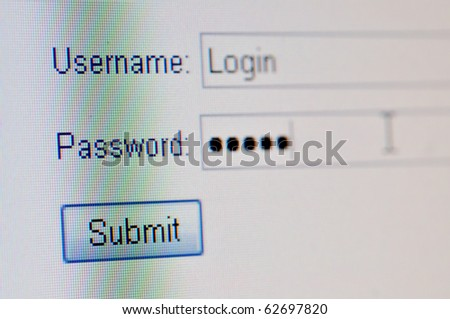 A macro closeup of a computer screen with a username text box,  password text box and submit button.