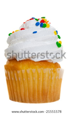 A macro of a cup cake on a white background