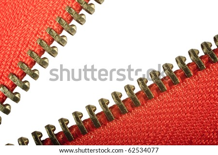 A macro of an open red zip against a white background