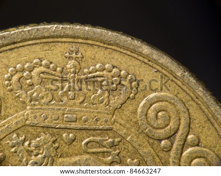 A macro photo of a Danish coin