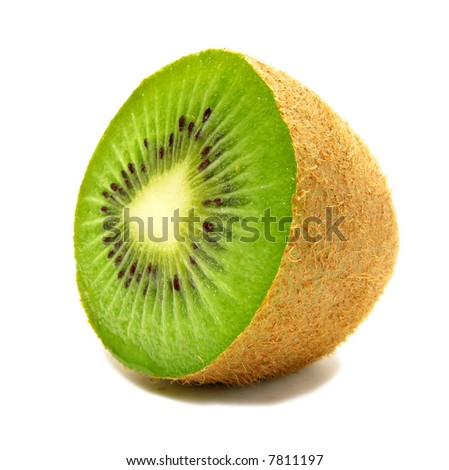 A macro photo of a kiwi - on white background