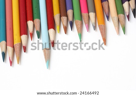 a macro picture of colored pencils