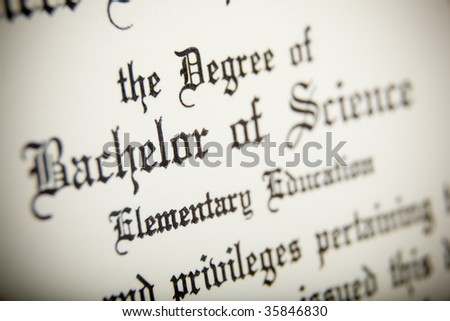 A macro shot of a Bachelor or Science Degree, very narrow depth of field