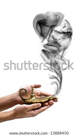 A magic genie lamp on a persons hand, isolated on white.