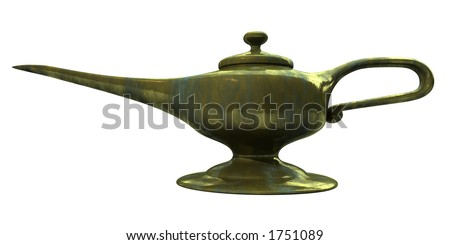 A magic lamp with clipping path