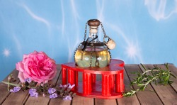 a magic object in the wood table ready for the potion of love