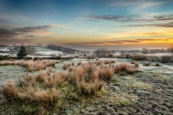 A magical frosty sunrise at Bellever on Dartmoor National Park in Devon