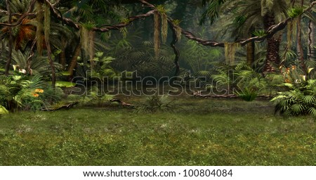 a magical landscape with lianas, flowers and palm trees