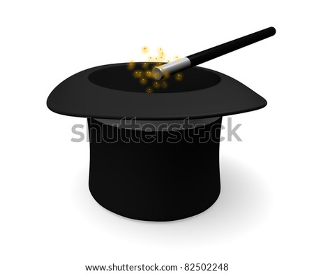 A magicians hat with magic wand and golden sparks. Isolated on white