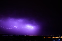 A magnificent blue electrifying lightning storm