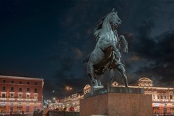 a magnificent sculpture of the taming of a horse by Peter Klodt on the Anichkov bridge, built in 1841. St. Petersburg. Russia
