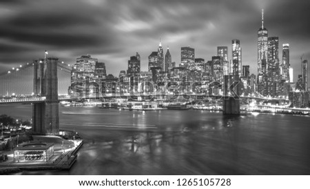 a magnificent view of the lower Manhattan and Brooklyn Bridge #1265105728