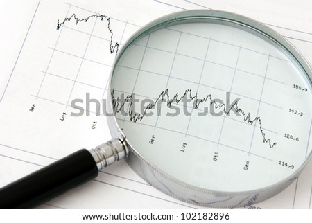 A magnifying glass focusing on a financial graph