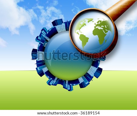A magnifying glass is looking down at the earth and there are city buildings shaped in a circular pattern going around it. There are clouds in the sky. Can represent the search for a house.