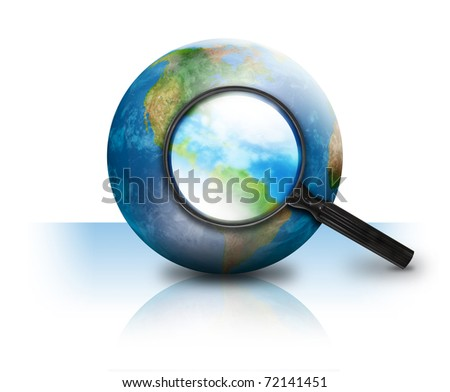 A magnifying glass is searching the earth and there on a white isolated background. Use it for an internet or travel concept.