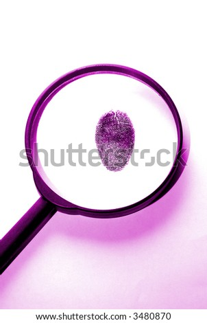 a magnifying lens over a fingerprint in purple colors