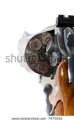 A 357 magnum revolver  isolated on white - stock photo