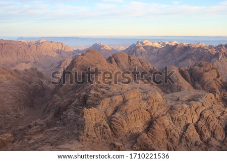 A majestic and magnificent landscape from the highest mountains and in the middle of the towering rocky mountains of St. Catherine, Egypt