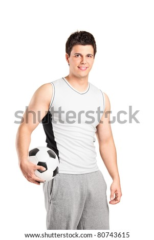 A male athlete holding a football isolated on white background