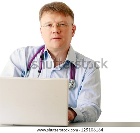 A male doctor working at a workplace, isolated on white background