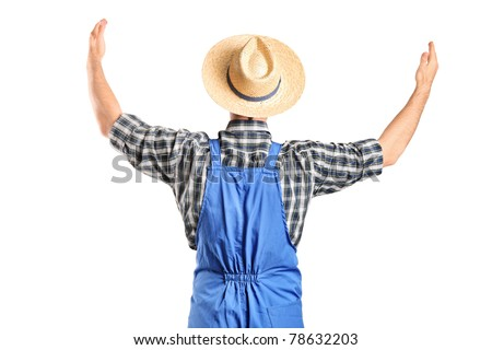 A male farmer gesturing with raised hands isolated on white background