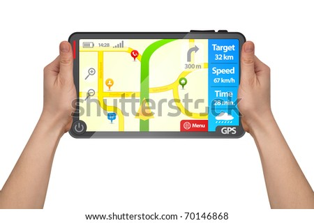 a male hand holding a modern colorful touchpad gps tablet isolated on white