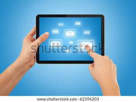 a male hand holding a touchpad pc, one finger touches e-mail symbol, isolated on white