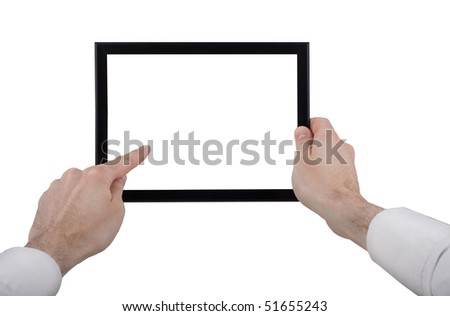 a male hand holding a touchpad pc, one finger touches the touchpad, isolated on white - stock photo