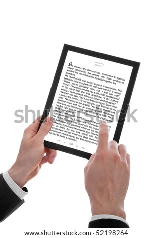 a male hand holding a touchpad pc showing an E-Book, isolated on white
