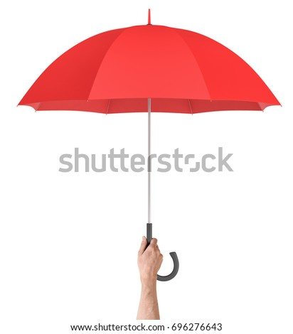 A male hand holds a large classic red umbrella with an open canopy and a black curved handle. Safety and protection. Friendly hand. Security measures. #696276643